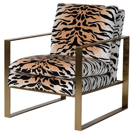 Gold Frame Tiger Print Chair